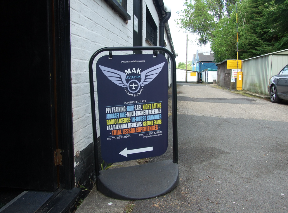 MAK Aviation sign by door